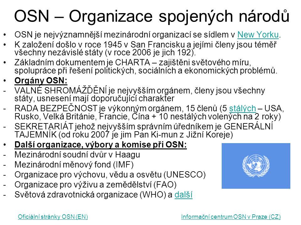 OSN – Organizace spojených národů OSN je nejvýznamnější mezinárodní organizací se sídlem v New Yorku.New Yorku K založení došlo v roce 1945 v San Fran