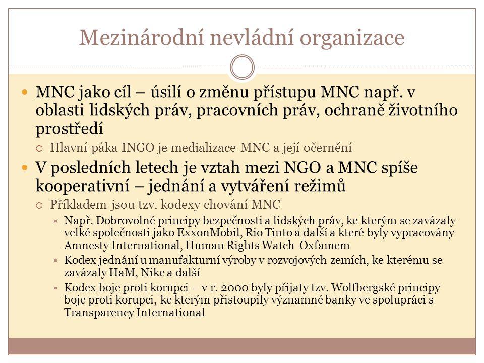 Mezinárodní nevládní organizace MNC jako cíl – úsilí o změnu přístupu MNC např. v oblasti lidských práv, pracovních práv, ochraně životního prostředí