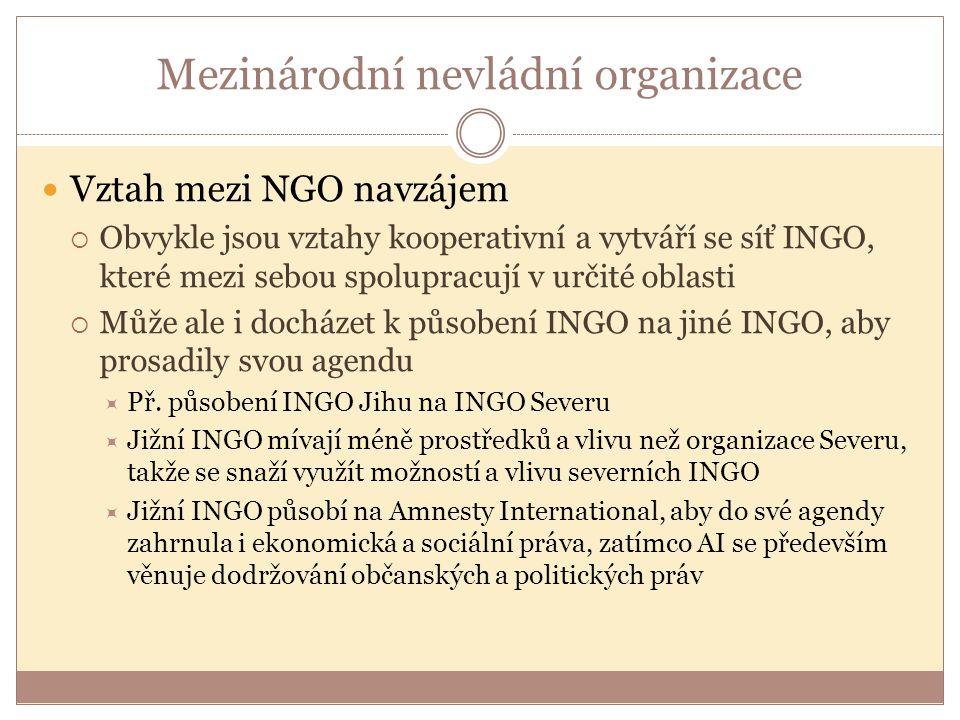 Mezinárodní nevládní organizace Vztah mezi NGO navzájem  Obvykle jsou vztahy kooperativní a vytváří se síť INGO, které mezi sebou spolupracují v určité oblasti  Může ale i docházet k působení INGO na jiné INGO, aby prosadily svou agendu  Př.
