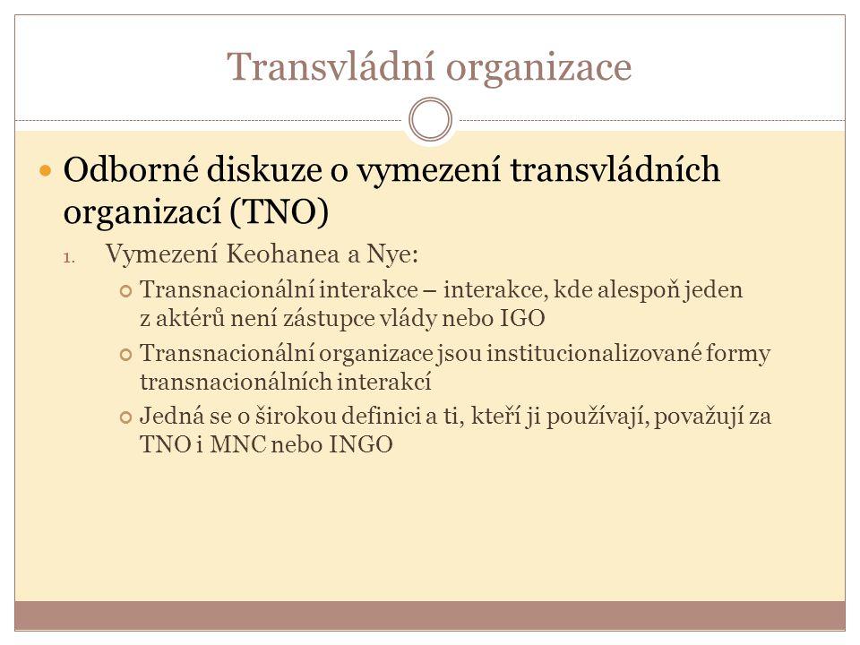 Transvládní organizace Odborné diskuze o vymezení transvládních organizací (TNO) 1. Vymezení Keohanea a Nye: Transnacionální interakce – interakce, kd