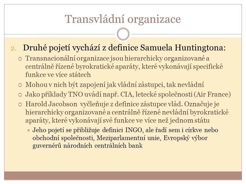 Transvládní organizace 2. Druhé pojetí vychází z definice Samuela Huntingtona:  Transnacionální organizace jsou hierarchicky organizované a centrálně