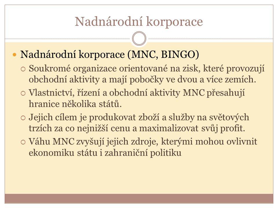 Nadnárodní korporace Nadnárodní korporace (MNC, BINGO)  Soukromé organizace orientované na zisk, které provozují obchodní aktivity a mají pobočky ve dvou a více zemích.