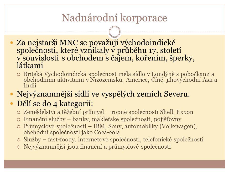 Nadnárodní korporace Za nejstarší MNC se považují východoindické společnosti, které vznikaly v průběhu 17.