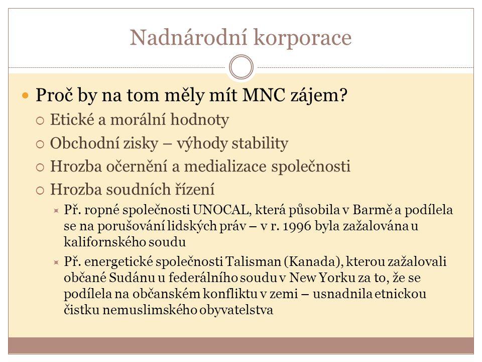 Nadnárodní korporace Proč by na tom měly mít MNC zájem?  Etické a morální hodnoty  Obchodní zisky – výhody stability  Hrozba očernění a medializace