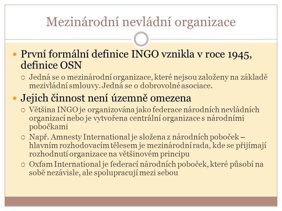 Mezinárodní nevládní organizace První formální definice INGO vznikla v roce 1945, definice OSN  Jedná se o mezinárodní organizace, které nejsou založeny na základě mezivládní smlouvy.