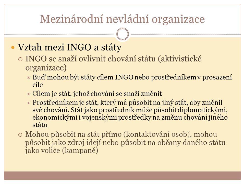 Mezinárodní nevládní organizace Vztah mezi INGO a státy  INGO se snaží ovlivnit chování státu (aktivistické organizace)  Buď mohou být státy cílem INGO nebo prostředníkem v prosazení cíle  Cílem je stát, jehož chování se snaží změnit  Prostředníkem je stát, který má působit na jiný stát, aby změnil své chování.