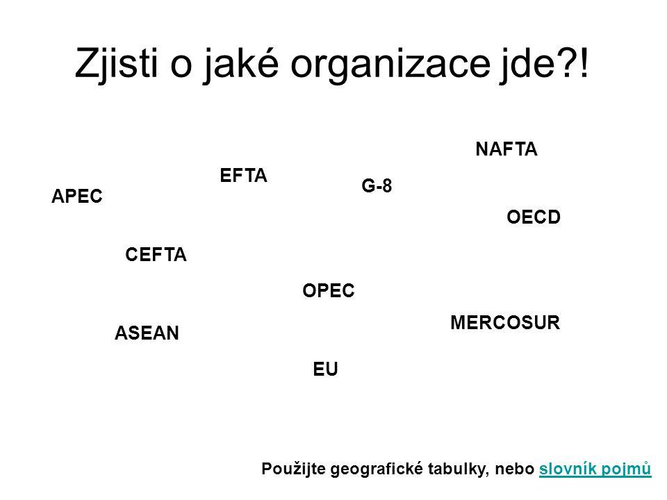 Zjisti o jaké organizace jde?! Použijte geografické tabulky, nebo slovník pojmůslovník pojmů APEC CEFTA EFTA G-8 NAFTA OECD OPEC ASEAN MERCOSUR EU