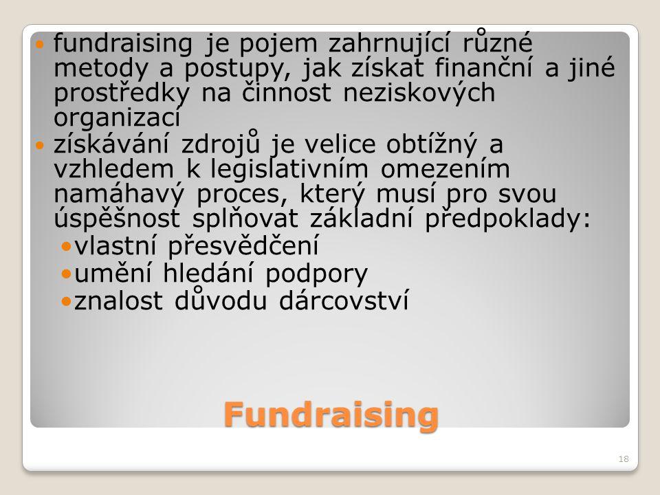 Fundraising 18 fundraising je pojem zahrnující různé metody a postupy, jak získat finanční a jiné prostředky na činnost neziskových organizací získává