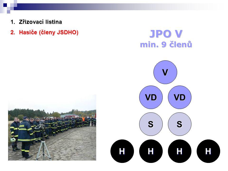 2.Hasiče (členy JSDHO) V VD VD SS HHHH JPO V min. 9 členů