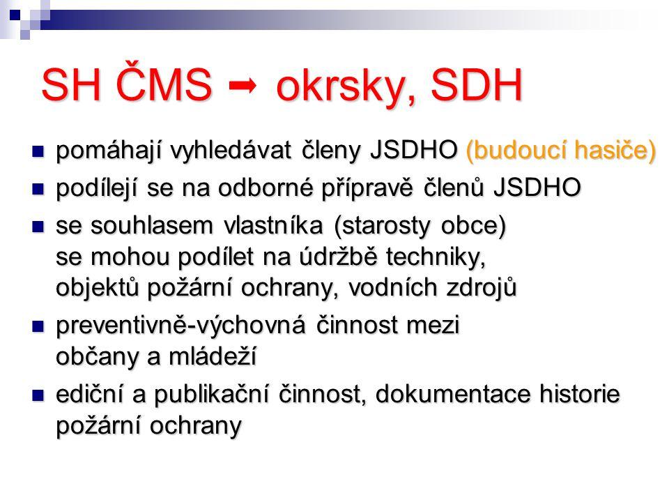 SH ČMS okrsky, SDH pomáhají vyhledávat členy JSDHO (budoucí hasiče) pomáhají vyhledávat členy JSDHO (budoucí hasiče) podílejí se na odborné přípravě členů JSDHO podílejí se na odborné přípravě členů JSDHO se souhlasem vlastníka (starosty obce) se mohou podílet na údržbě techniky, objektů požární ochrany, vodních zdrojů se souhlasem vlastníka (starosty obce) se mohou podílet na údržbě techniky, objektů požární ochrany, vodních zdrojů preventivně-výchovná činnost mezi občany a mládeží preventivně-výchovná činnost mezi občany a mládeží ediční a publikační činnost, dokumentace historie požární ochrany ediční a publikační činnost, dokumentace historie požární ochrany