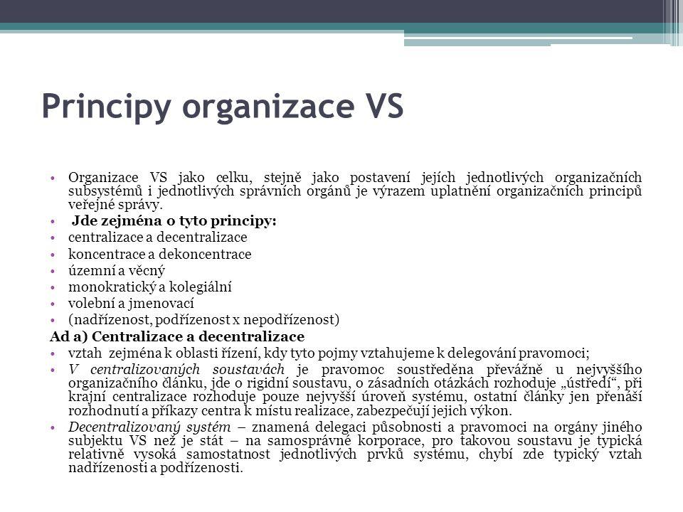 Principy organizace VS Organizace VS jako celku, stejně jako postavení jejích jednotlivých organizačních subsystémů i jednotlivých správních orgánů je