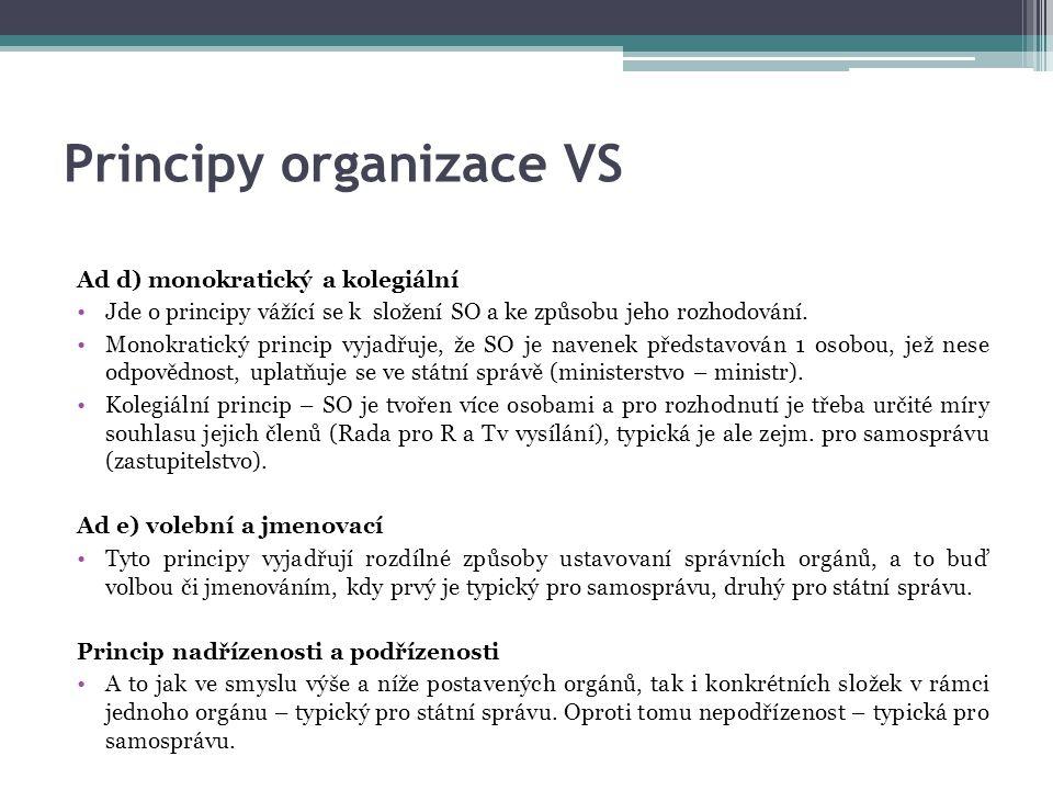 Principy organizace VS Ad d) monokratický a kolegiální Jde o principy vážící se k složení SO a ke způsobu jeho rozhodování. Monokratický princip vyjad