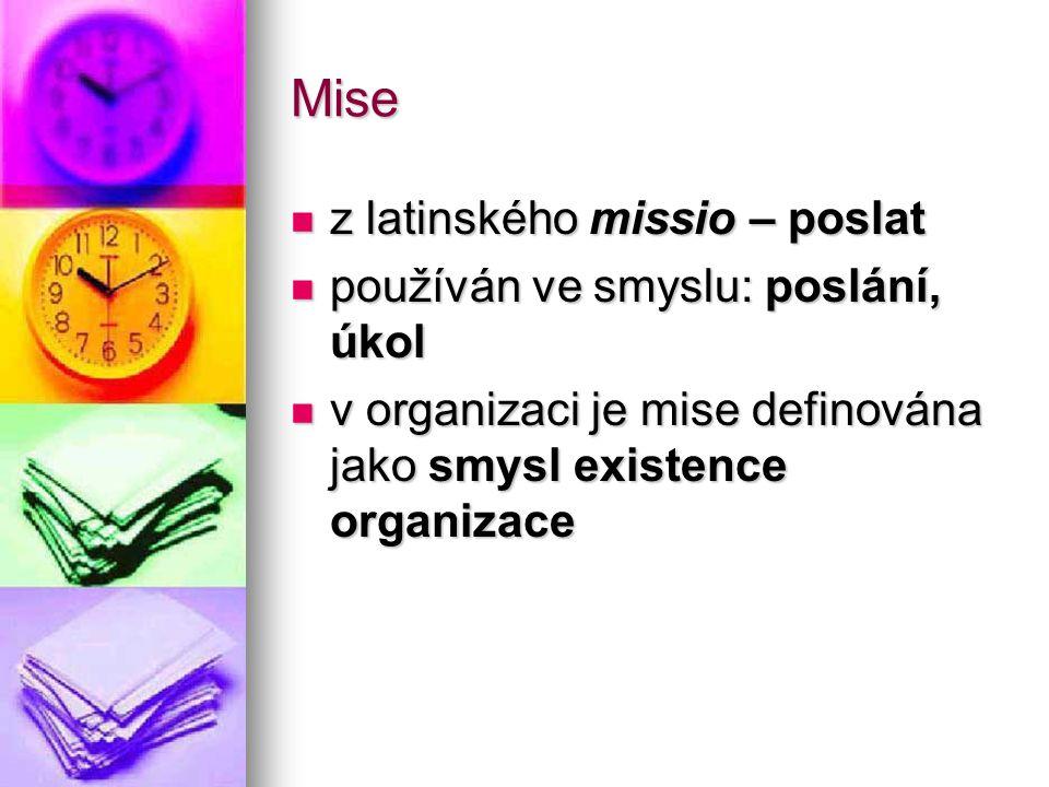 Mise z latinského missio – poslat z latinského missio – poslat používán ve smyslu: poslání, úkol používán ve smyslu: poslání, úkol v organizaci je mis