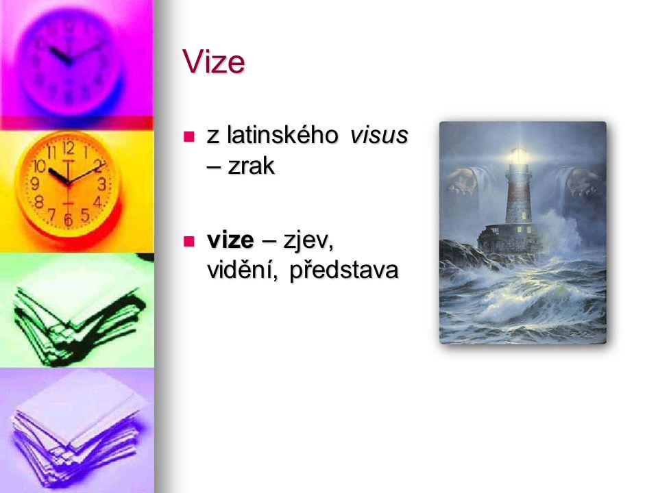 Vize z latinského visus – zrak z latinského visus – zrak vize – zjev, vidění, představa vize – zjev, vidění, představa