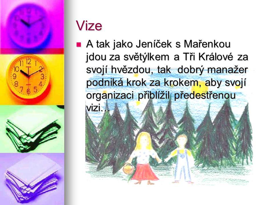 Vize A tak jako Jeníček s Mařenkou jdou za světýlkem a Tři Králové za svojí hvězdou, tak dobrý manažer podniká krok za krokem, aby svojí organizaci př