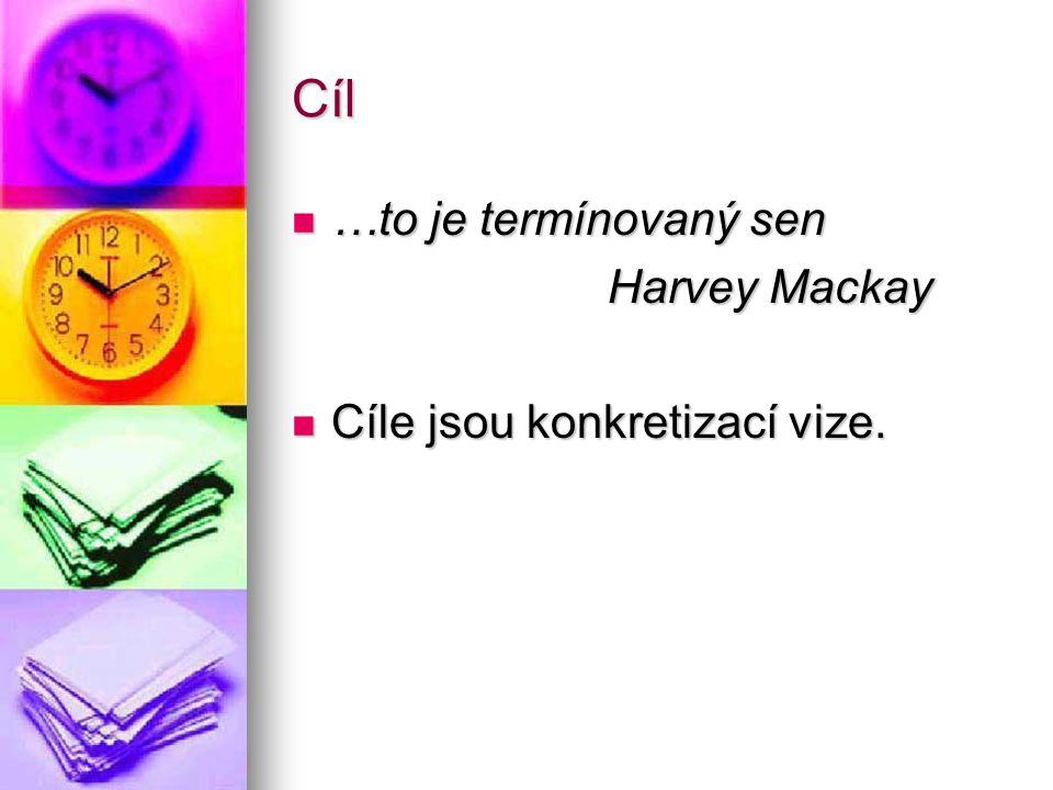 Cíl …to je termínovaný sen …to je termínovaný sen Harvey Mackay Cíle jsou konkretizací vize. Cíle jsou konkretizací vize.