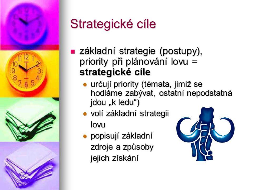 Strategické cíle základní strategie (postupy), priority při plánování lovu = strategické cíle základní strategie (postupy), priority při plánování lov