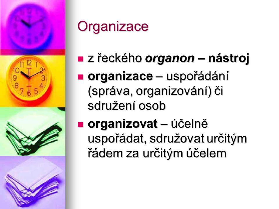 Organizace z řeckého organon – nástroj z řeckého organon – nástroj organizace – uspořádání (správa, organizování) či sdružení osob organizace – uspořá