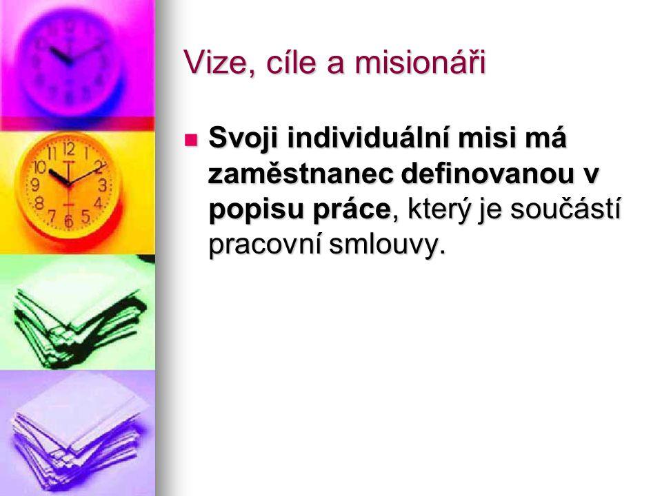 Vize, cíle a misionáři Svoji individuální misi má zaměstnanec definovanou v popisu práce, který je součástí pracovní smlouvy. Svoji individuální misi