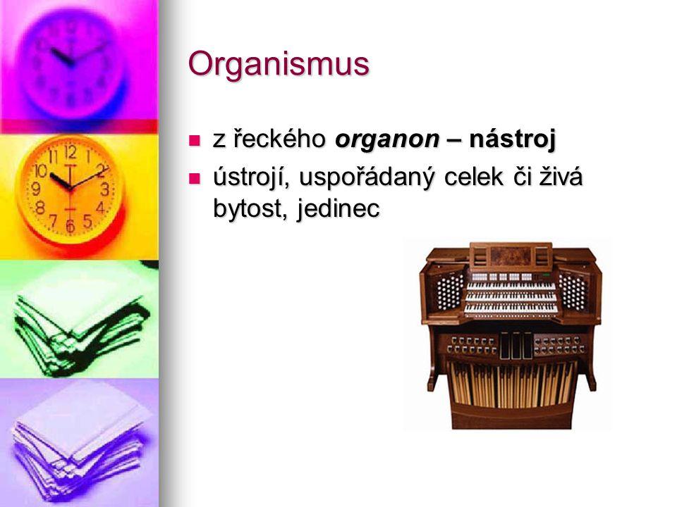Organismus z řeckého organon – nástroj z řeckého organon – nástroj ústrojí, uspořádaný celek či živá bytost, jedinec ústrojí, uspořádaný celek či živá