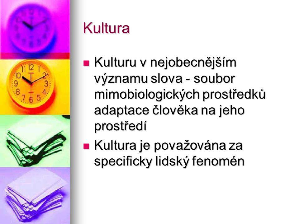 Kultura Kulturu v nejobecnějším významu slova - soubor mimobiologických prostředků adaptace člověka na jeho prostředí Kulturu v nejobecnějším významu