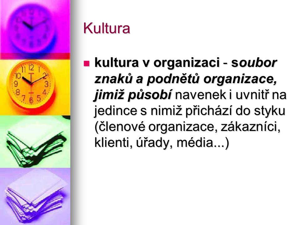Kultura kultura v organizaci - soubor znaků a podnětů organizace, jimiž působí navenek i uvnitř na jedince s nimiž přichází do styku (členové organiza