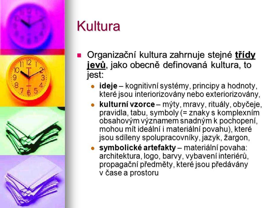 Kultura Organizační kultura zahrnuje stejné třídy jevů, jako obecně definovaná kultura, to jest: Organizační kultura zahrnuje stejné třídy jevů, jako