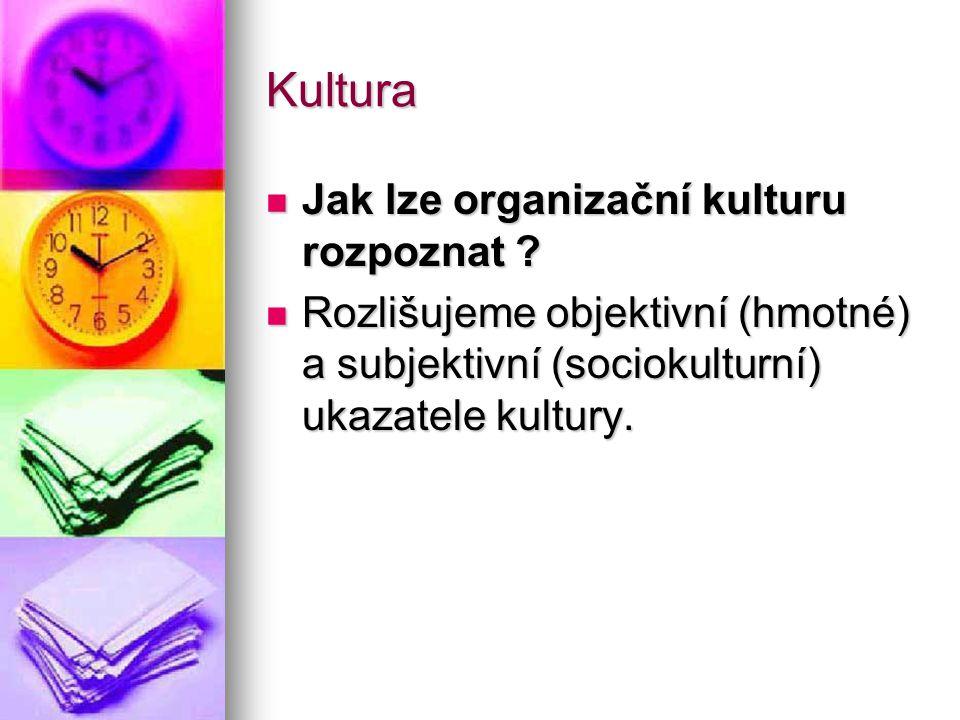 Kultura Jak lze organizační kulturu rozpoznat ? Jak lze organizační kulturu rozpoznat ? Rozlišujeme objektivní (hmotné) a subjektivní (sociokulturní)
