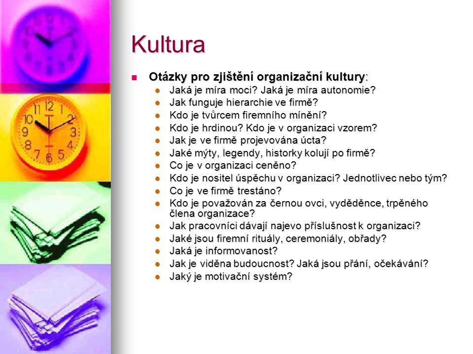 Kultura Otázky pro zjištění organizační kultury: Otázky pro zjištění organizační kultury: Jaká je míra moci? Jaká je míra autonomie? Jaká je míra moci