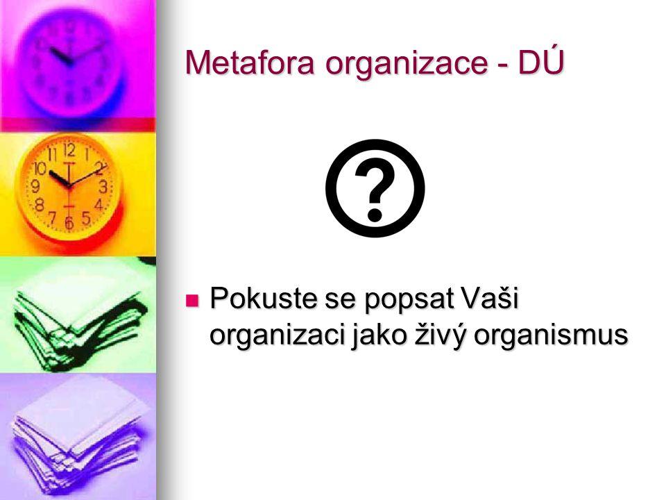 Metafora organizace - DÚ Pokuste se popsat Vaši organizaci jako živý organismus Pokuste se popsat Vaši organizaci jako živý organismus