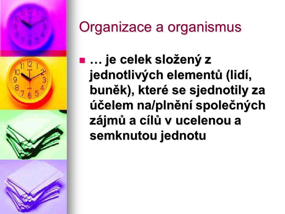 Organizace a organismus … je celek složený z jednotlivých elementů (lidí, buněk), které se sjednotily za účelem na/plnění společných zájmů a cílů v uc