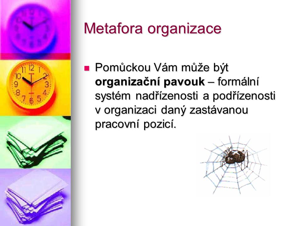 Metafora organizace Pomůckou Vám může být organizační pavouk – formální systém nadřízenosti a podřízenosti v organizaci daný zastávanou pracovní pozic
