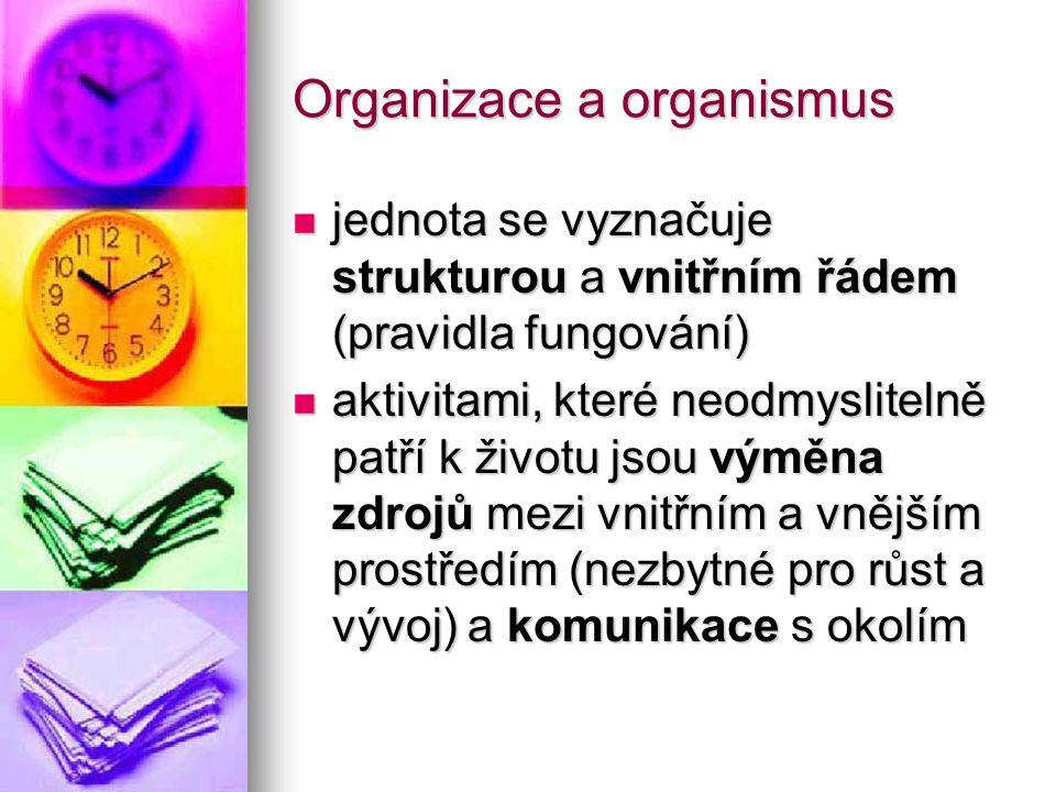 Organizace a organismus jednota se vyznačuje strukturou a vnitřním řádem (pravidla fungování) jednota se vyznačuje strukturou a vnitřním řádem (pravid
