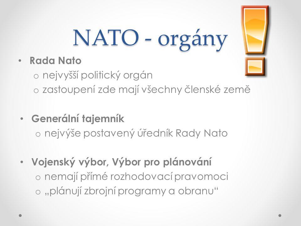 """NATO - orgány Rada Nato o nejvyšší politický orgán o zastoupení zde mají všechny členské země Generální tajemník o nejvýše postavený úředník Rady Nato Vojenský výbor, Výbor pro plánování o nemají přímé rozhodovací pravomoci o """"plánují zbrojní programy a obranu"""