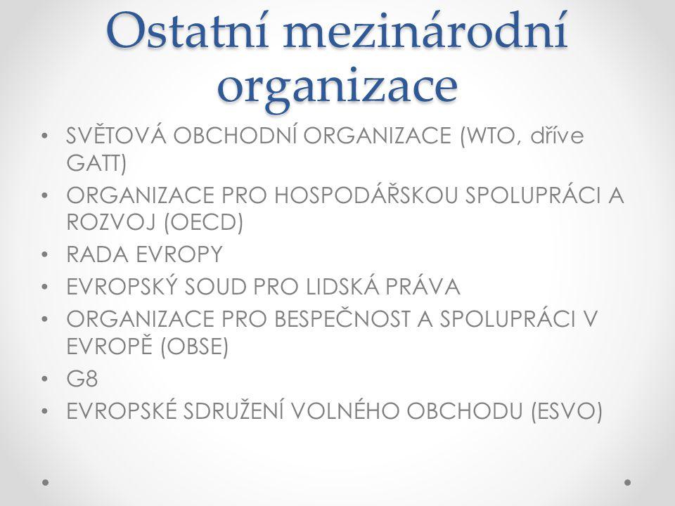 Ostatní mezinárodní organizace SVĚTOVÁ OBCHODNÍ ORGANIZACE (WTO, dříve GATT) ORGANIZACE PRO HOSPODÁŘSKOU SPOLUPRÁCI A ROZVOJ (OECD) RADA EVROPY EVROPSKÝ SOUD PRO LIDSKÁ PRÁVA ORGANIZACE PRO BESPEČNOST A SPOLUPRÁCI V EVROPĚ (OBSE) G8 EVROPSKÉ SDRUŽENÍ VOLNÉHO OBCHODU (ESVO)