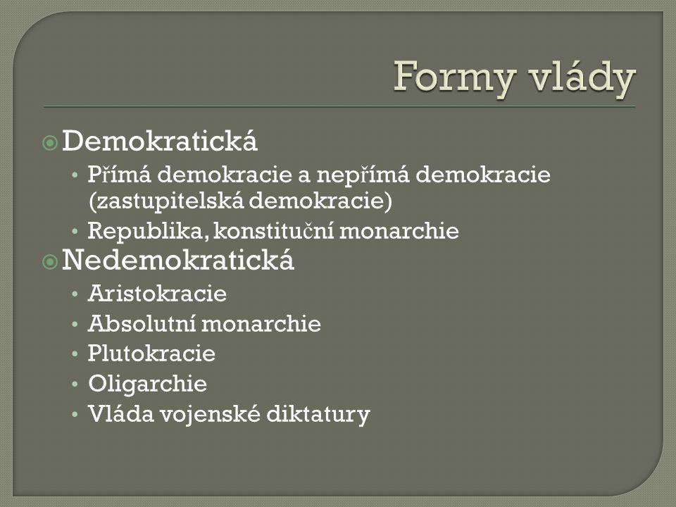  Demokratická P ř ímá demokracie a nep ř ímá demokracie (zastupitelská demokracie) Republika, konstitu č ní monarchie  Nedemokratická Aristokracie Absolutní monarchie Plutokracie Oligarchie Vláda vojenské diktatury