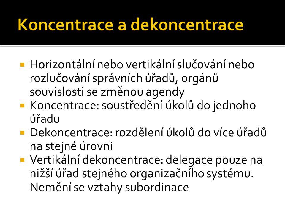  Horizontální nebo vertikální slučování nebo rozlučování správních úřadů, orgánů souvislosti se změnou agendy  Koncentrace: soustředění úkolů do jed