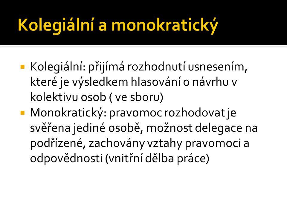  Kolegiální: přijímá rozhodnutí usnesením, které je výsledkem hlasování o návrhu v kolektivu osob ( ve sboru)  Monokratický: pravomoc rozhodovat je