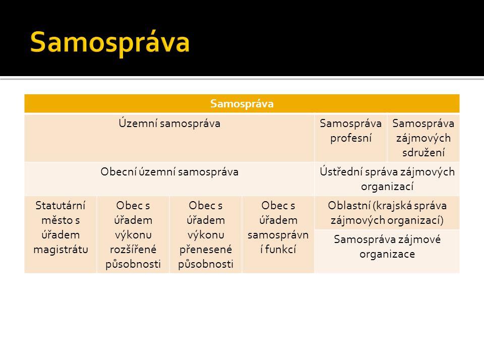 Samospráva Územní samosprávaSamospráva profesní Samospráva zájmových sdružení Obecní územní samosprávaÚstřední správa zájmových organizací Statutární
