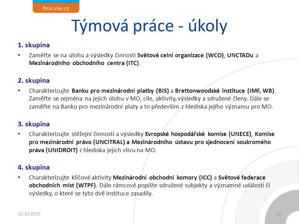 Týmová práce - úkoly 1. skupina Zaměřte se na úlohu a výsledky činnosti Světové celní organizace (WCO), UNCTADu a Mezinárodního obchodního centra (ITC