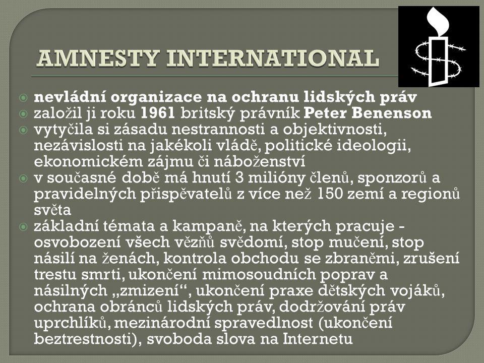  nevládní organizace na ochranu lidských práv  zalo ž il ji roku 1961 britský právník Peter Benenson  vyty č ila si zásadu nestrannosti a objektivn