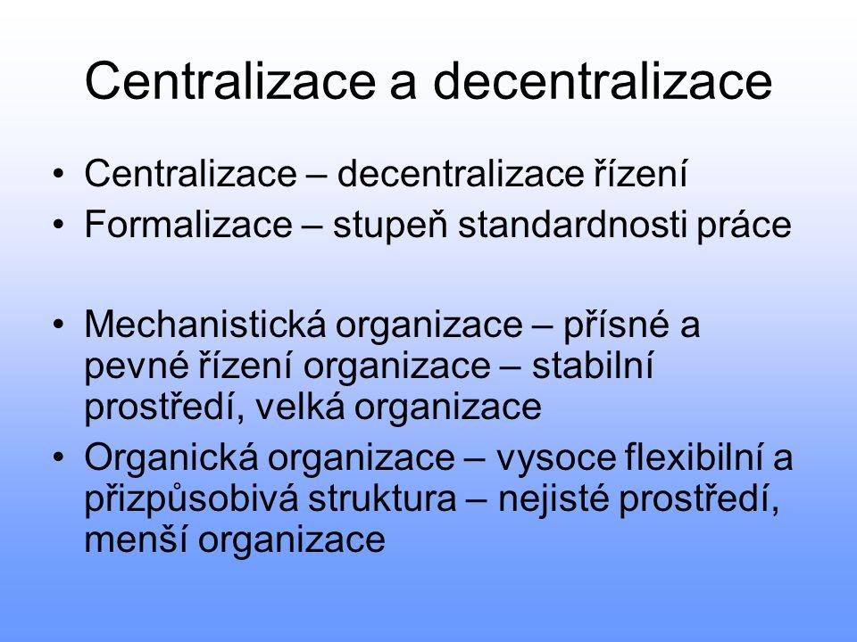 Centralizace a decentralizace Centralizace – decentralizace řízení Formalizace – stupeň standardnosti práce Mechanistická organizace – přísné a pevné