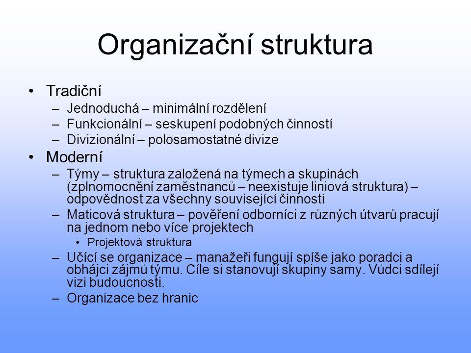 Organizační struktura Tradiční –Jednoduchá – minimální rozdělení –Funkcionální – seskupení podobných činností –Divizionální – polosamostatné divize Mo