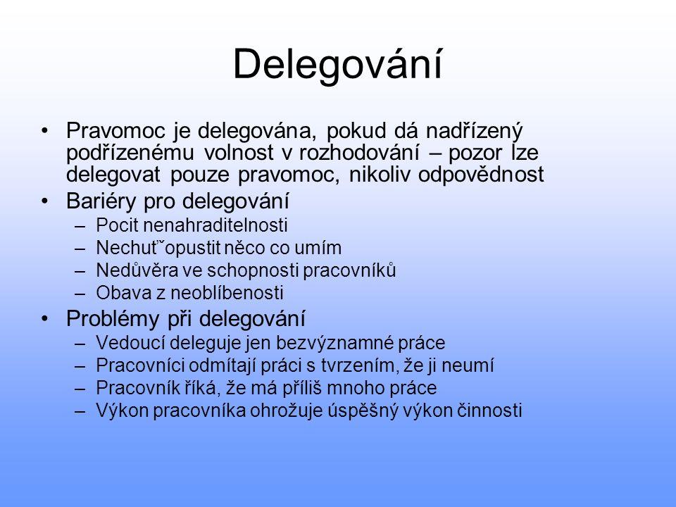 Delegování Pravomoc je delegována, pokud dá nadřízený podřízenému volnost v rozhodování – pozor lze delegovat pouze pravomoc, nikoliv odpovědnost Bari