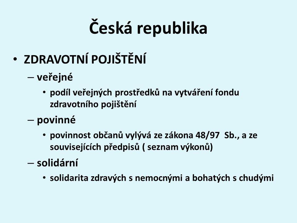 Česká republika ZDRAVOTNÍ POJIŠTĚNÍ – veřejné podíl veřejných prostředků na vytváření fondu zdravotního pojištění – povinné povinnost občanů vylývá ze zákona 48/97 Sb., a ze souvisejících předpisů ( seznam výkonů) – solidární solidarita zdravých s nemocnými a bohatých s chudými