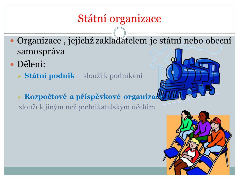 Státní organizace Organizace, jejichž zakladatelem je státní nebo obecní samospráva Dělení:  Státní podnik – slouží k podnikání  Rozpočtové a příspěvkové organizace – slouží k jiným než podnikatelským účelům