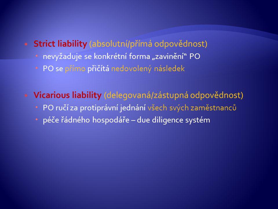 """ Strict liability (absolutní/přímá odpovědnost)  nevyžaduje se konkrétní forma """"zavinění"""" PO  PO se přímo přičítá nedovolený následek  Vicarious l"""