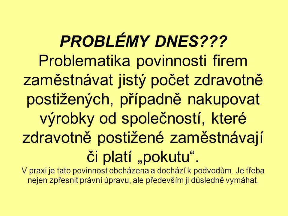 PROBLÉMY DNES??? Problematika povinnosti firem zaměstnávat jistý počet zdravotně postižených, případně nakupovat výrobky od společností, které zdravot