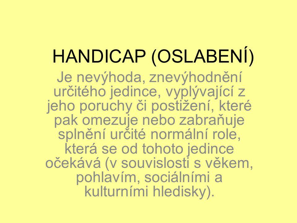 HANDICAP (OSLABENÍ) Je nevýhoda, znevýhodnění určitého jedince, vyplývající z jeho poruchy či postižení, které pak omezuje nebo zabraňuje splnění urči