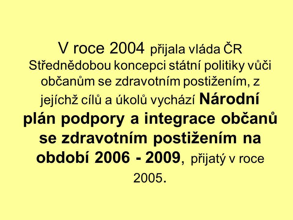 V roce 2004 přijala vláda ČR Střednědobou koncepci státní politiky vůči občanům se zdravotním postižením, z jejíchž cílů a úkolů vychází Národní plán podpory a integrace občanů se zdravotním postižením na období 2006 - 2009, přijatý v roce 2005.